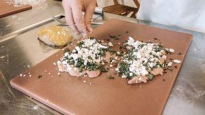 cilantro, garlic, feta