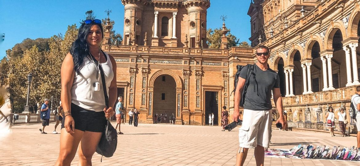 Husband & wife at Plaza de Espana Seville, Spain