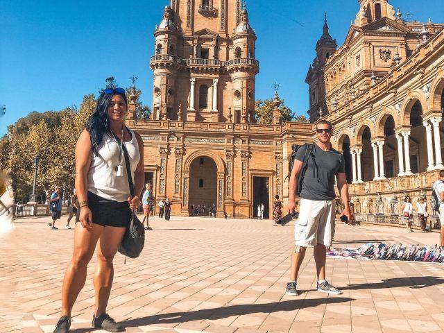 Husband & wife at Plaza de Espana Seville, Spain